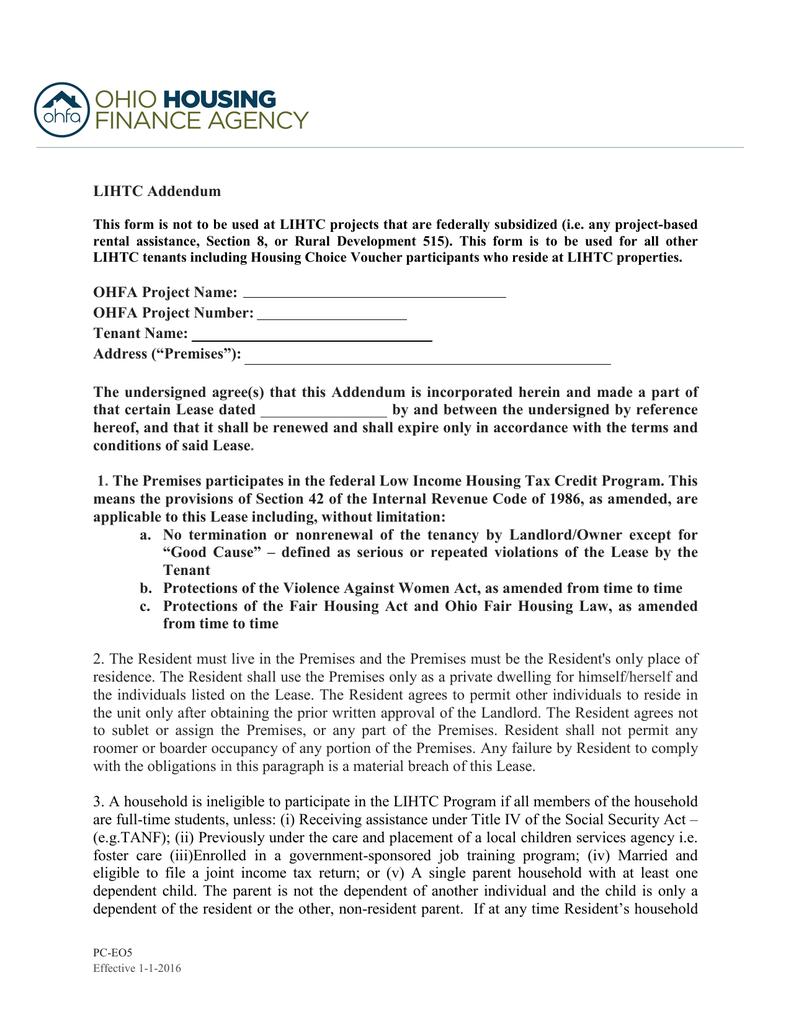 Revised LIHTC Lease Addendum – Rental Assistance Form
