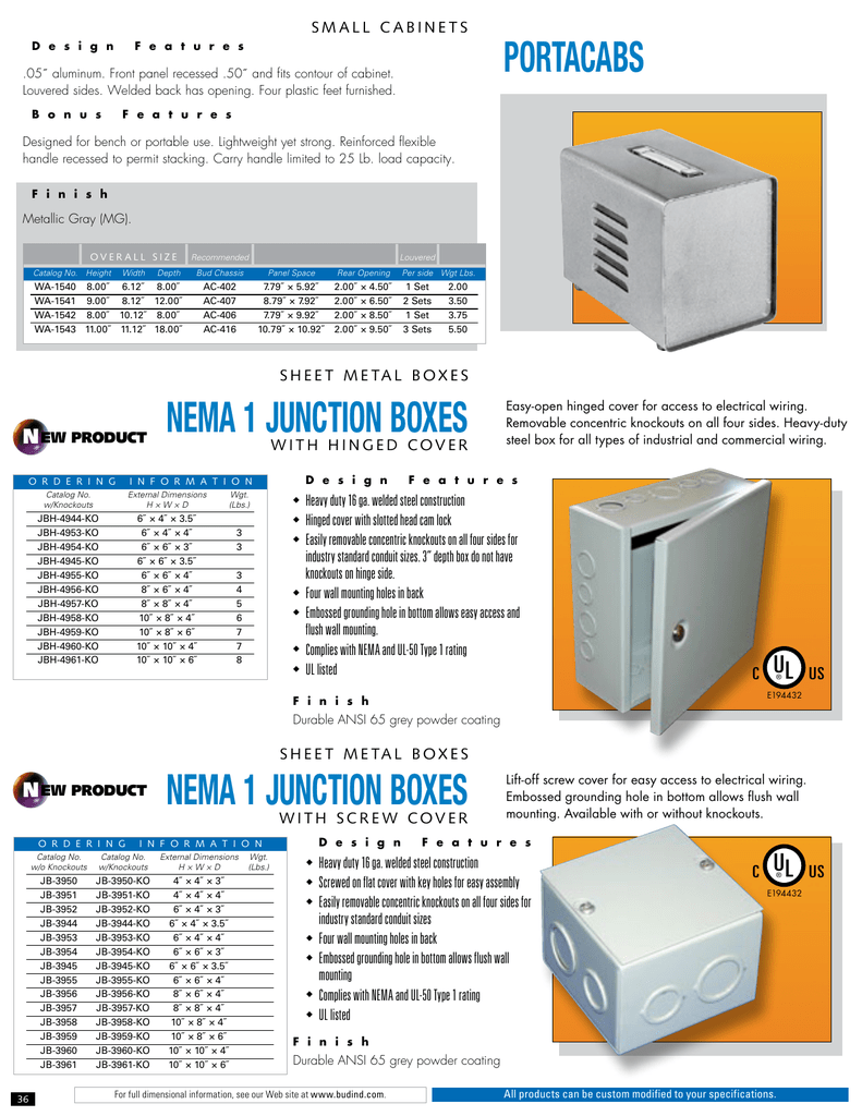 BUD Industries JBH-4959-KO Steel NEMA 1 Sheet Metal Box with Knockout and Hinged