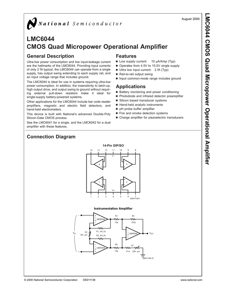 Lmc6044 Cmos Quad Micropower Operational Amplifier Singlesupply Instrumentation