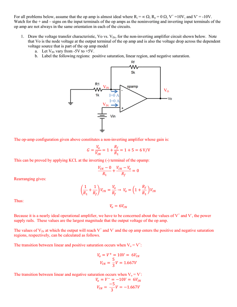 For All Problems Below Assume That The Op Amp Is Almost Ideal Voltage Amplifier Circuit Using