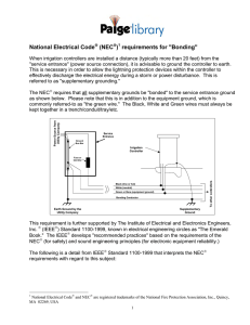 "National Electrical Code® (NEC®) requirements for ""Bonding"""