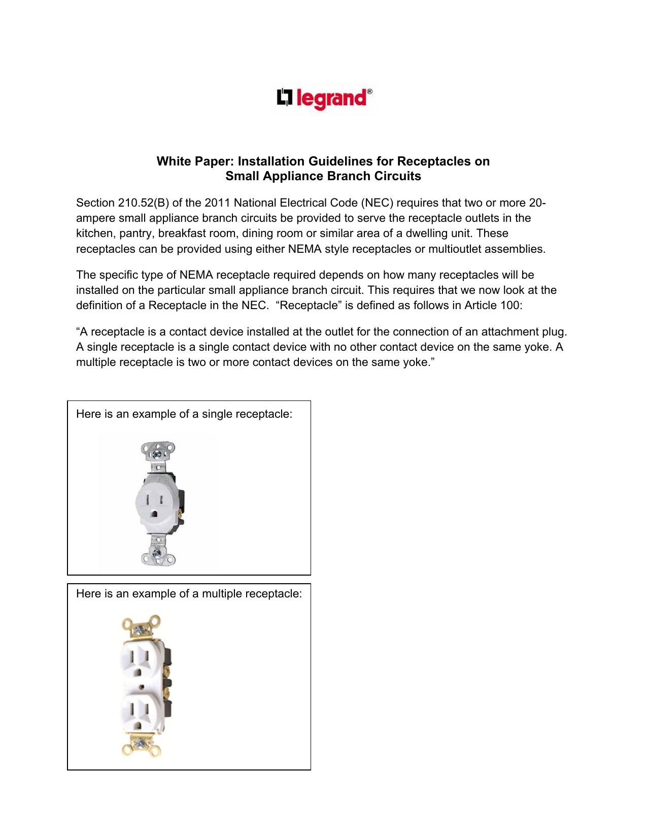 Installation Guidelines For Receptacles On Small