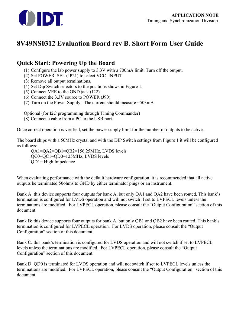 8V49NS0312 Evaluation Board rev B  Short Form User Guide