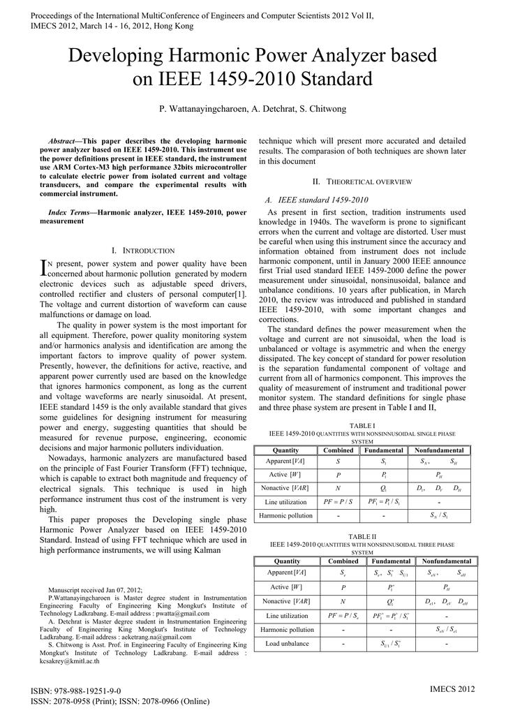 Developing Harmonic Power Analyzer based on IEEE 1459