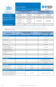 2016 Benefits Summary - Blue Cross and Blue Shield of Kansas