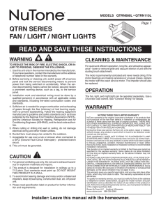 qtrn series fan / light / night lights read and save these instructions