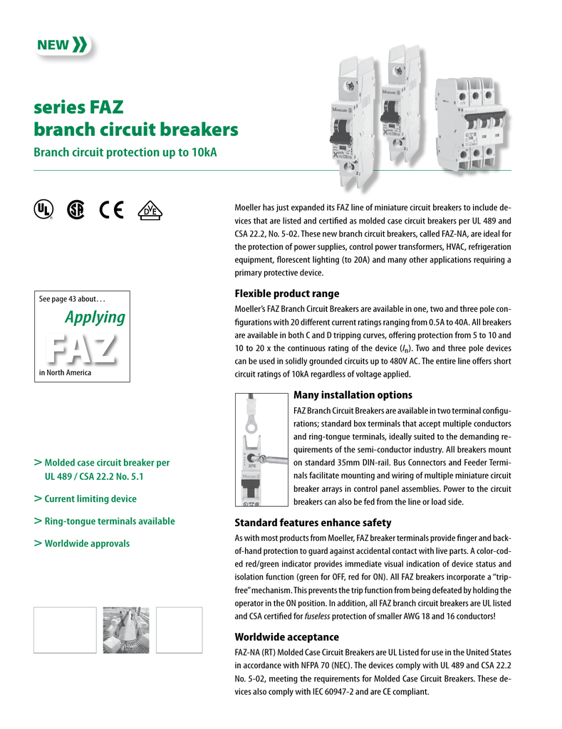 Series Faz Branch Circuit Breakers Control Power For The Breaker S