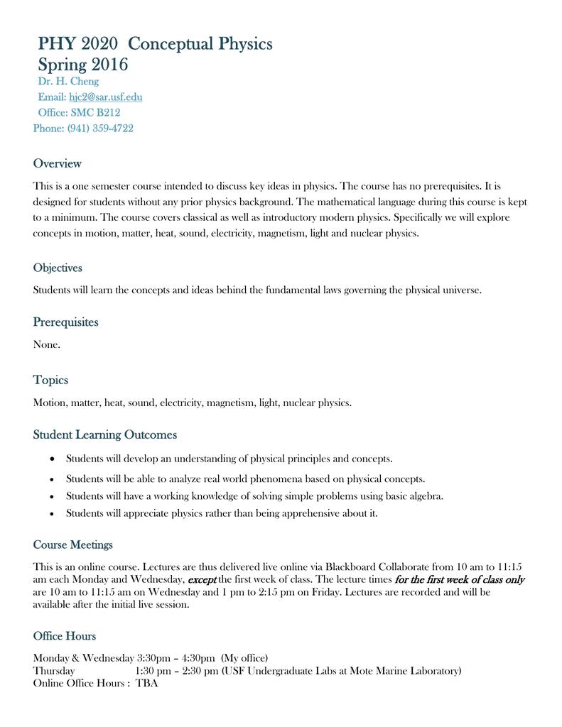Usf Spring Break 2020.Phy 2020 Conceptual Physics Spring 2016 Usf Sarasota