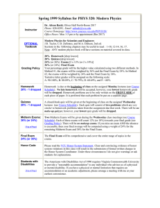 Spring 1999 Syllabus for PHYS 320: Modern Physics