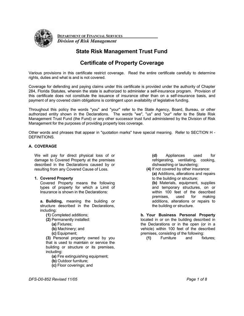 State Risk Management Trust Fund Certificate Of Property Coverage