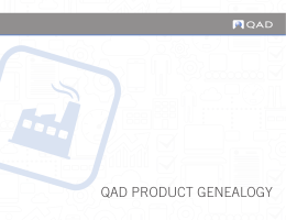 QAD PRODUCT GENEALOGY