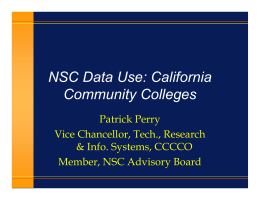 NSC Data Use: California Community Colleges