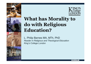 What has Morality to do with Religious Education?