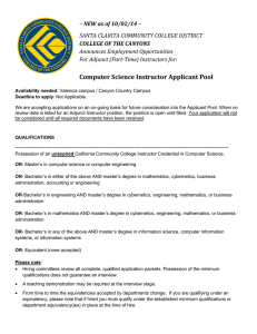 Computer Science Instructor Applicant Pool