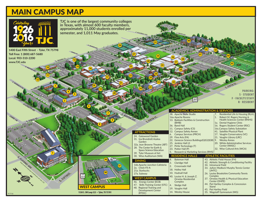 main campus map   Tyler Junior College