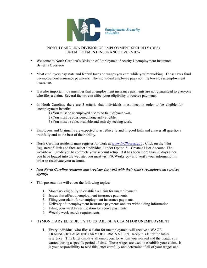 Unemployment Letter North Carolina Division Of Employment Security