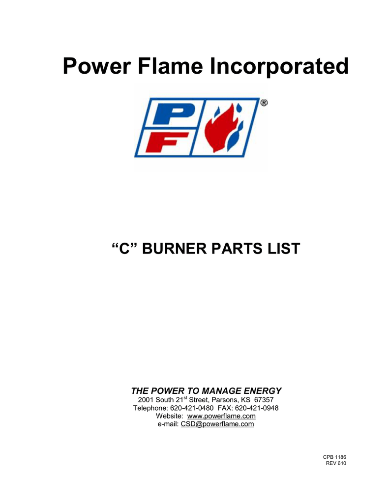 C Burner Parts Power Flame Incorporated Wiring Diagram Power Flame C2 Oilgas