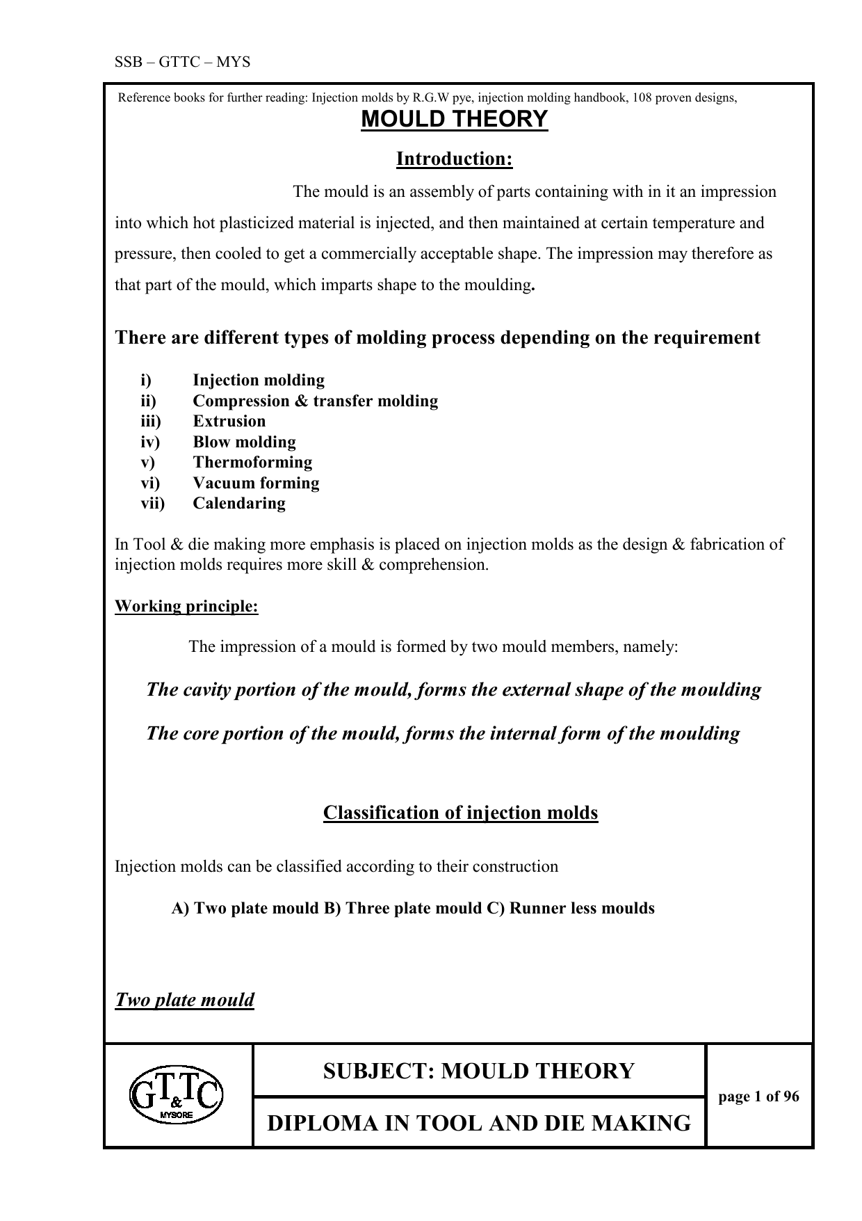 SUBJECT: MOULD THEORY DIPLOMA IN TOOL AND DIE MAKING