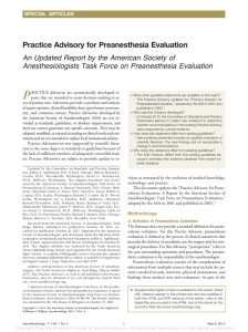 Practice Advisory for PreAnesthesia Evaluation