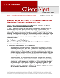 Proposed Section 409A Deferred Compensation Regulations Offer