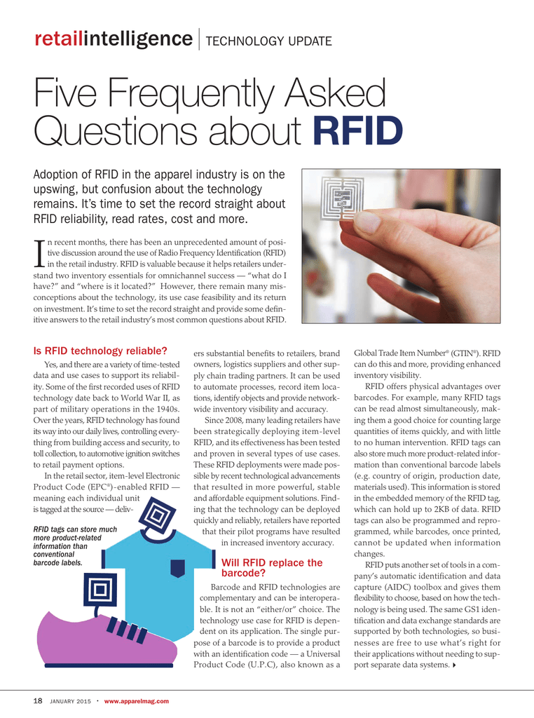 Five Frequently Asked Questions about RFID