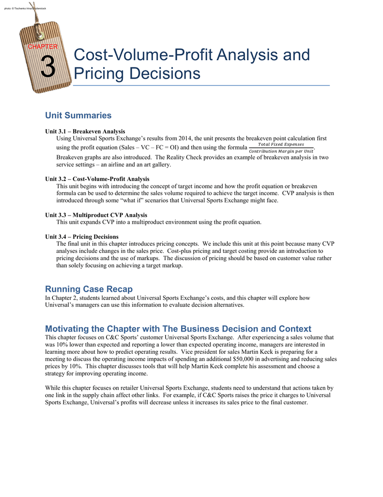 pricing decisions and profit analysischapter 56112answers