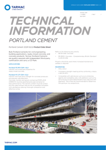 Portland Cement Product Data Sheet
