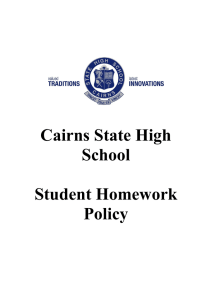 Cairns State High School Student Homework Policy