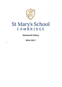 Homework Policy - St Mary`s School, Cambridge