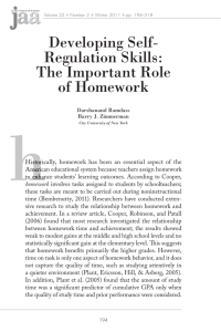 Developing Self- Regulation Skills: The Important Role of Homework