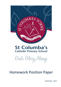 Homework Position Paper - St Columba`s Primary School Wilston