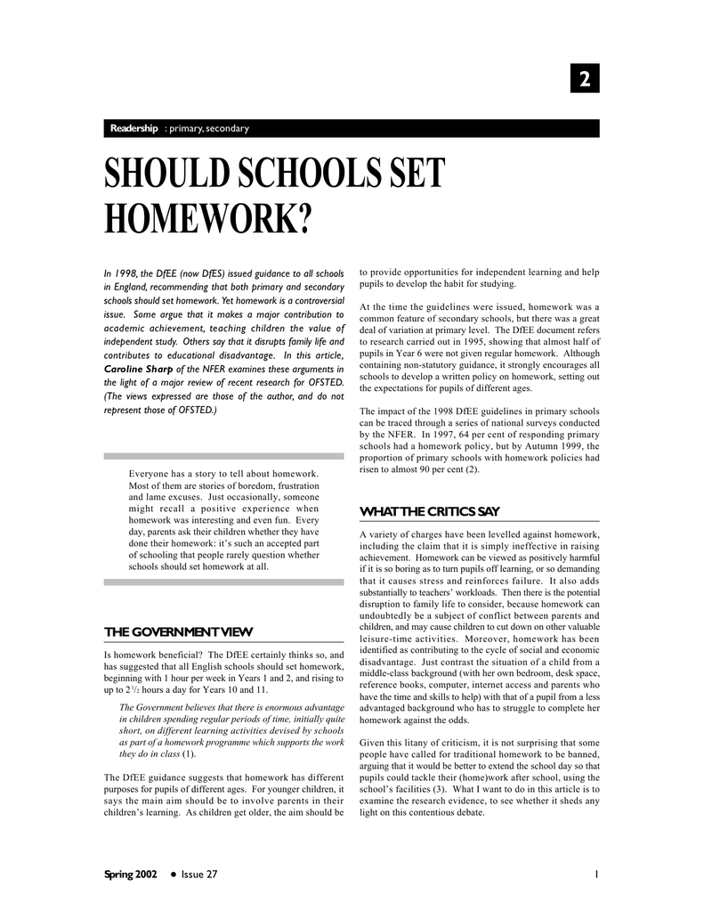 dfes homework policy
