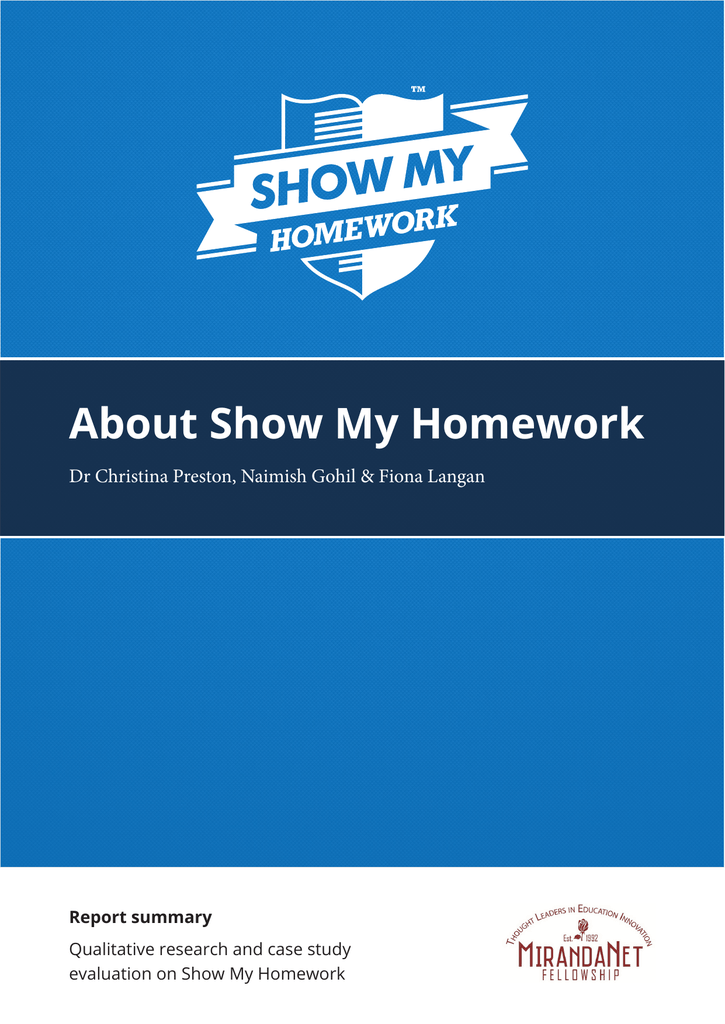 riddlesdown show my homework