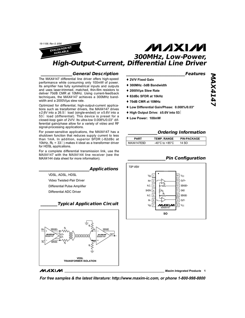 MAX4147 300MHz, Low-Power, High-Output