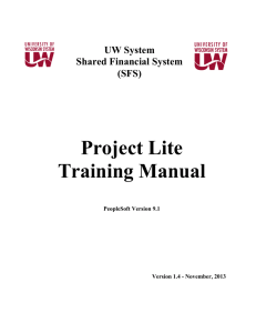 Project Lite Training Manual - University of Wisconsin System