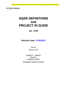 SQAR Definitions and Project ID