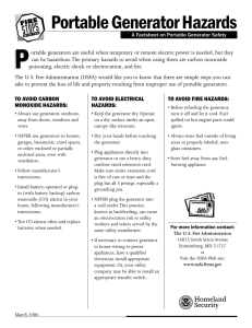 A Factsheet on Portable Generator Safety