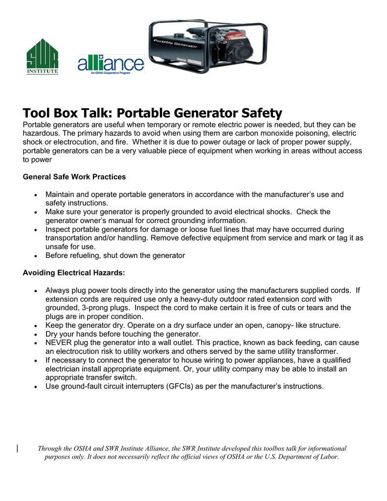 Tool Box Talk: Portable Generator Safety