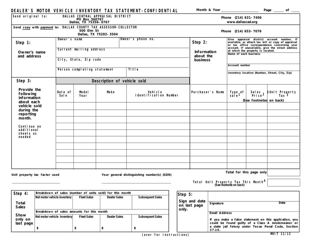 dealer s motor vehicle inventory tax statement