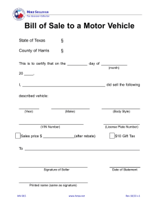 Bill of Sale to a Motor Vehicle
