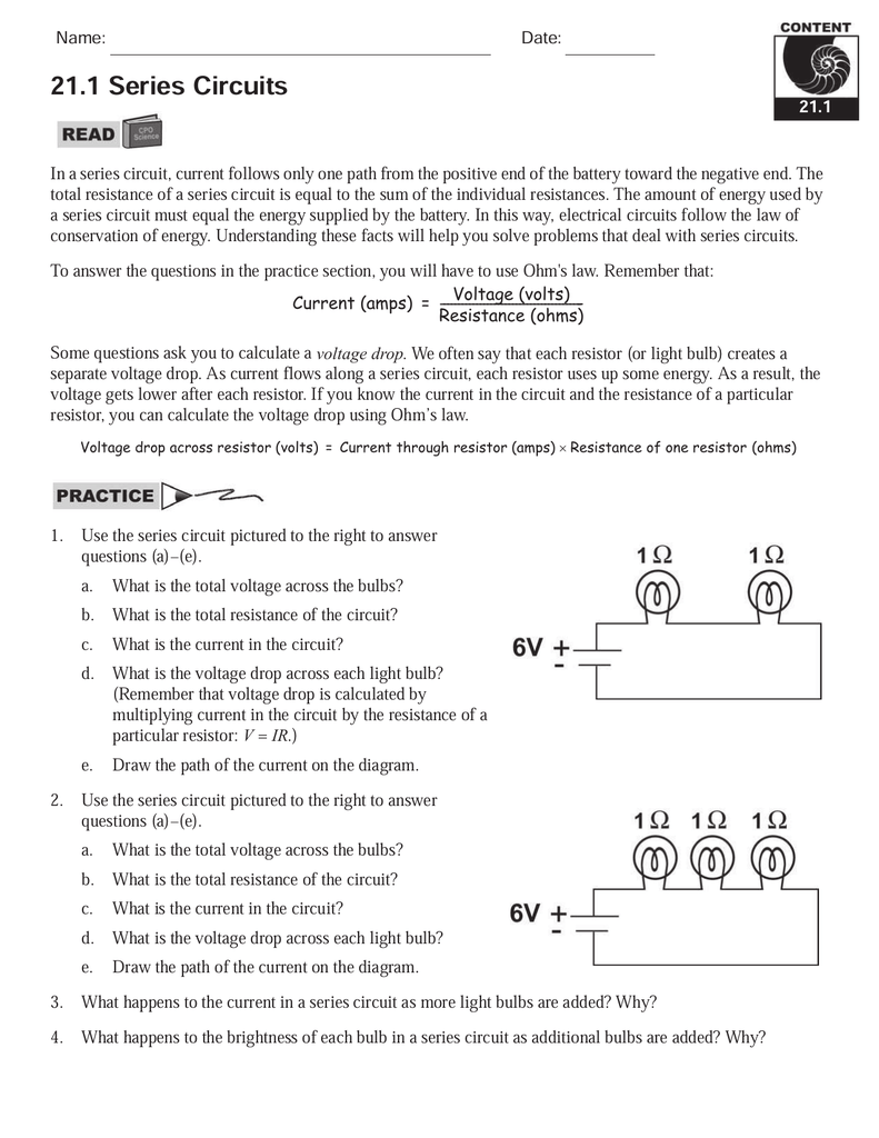 211 Series Circuits Mayfield City Schools Circuit Diagram Worksheet Answers