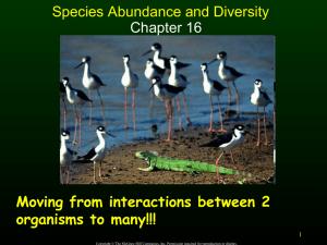 Species Abundance and Diversity Chapter 16