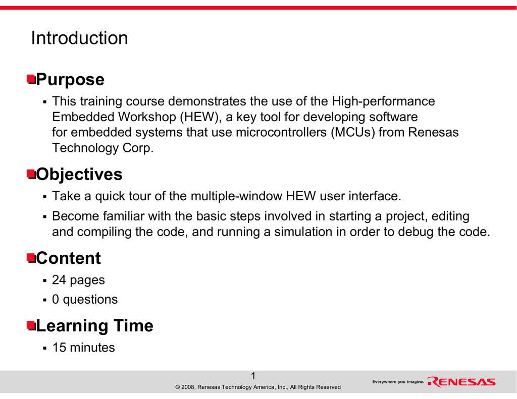 Introduction - Renesas e