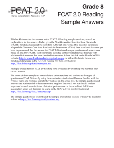 FCAT 2.0 Grade 8 Reading Sample Answers