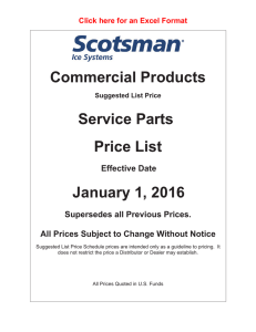Commercial Products Service Parts Price List January 1, 2016