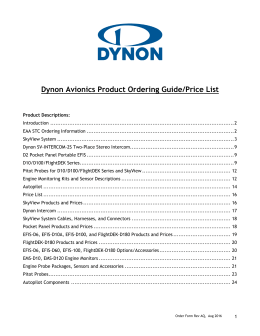 Dynon Avionics Product Ordering Guide/Price List