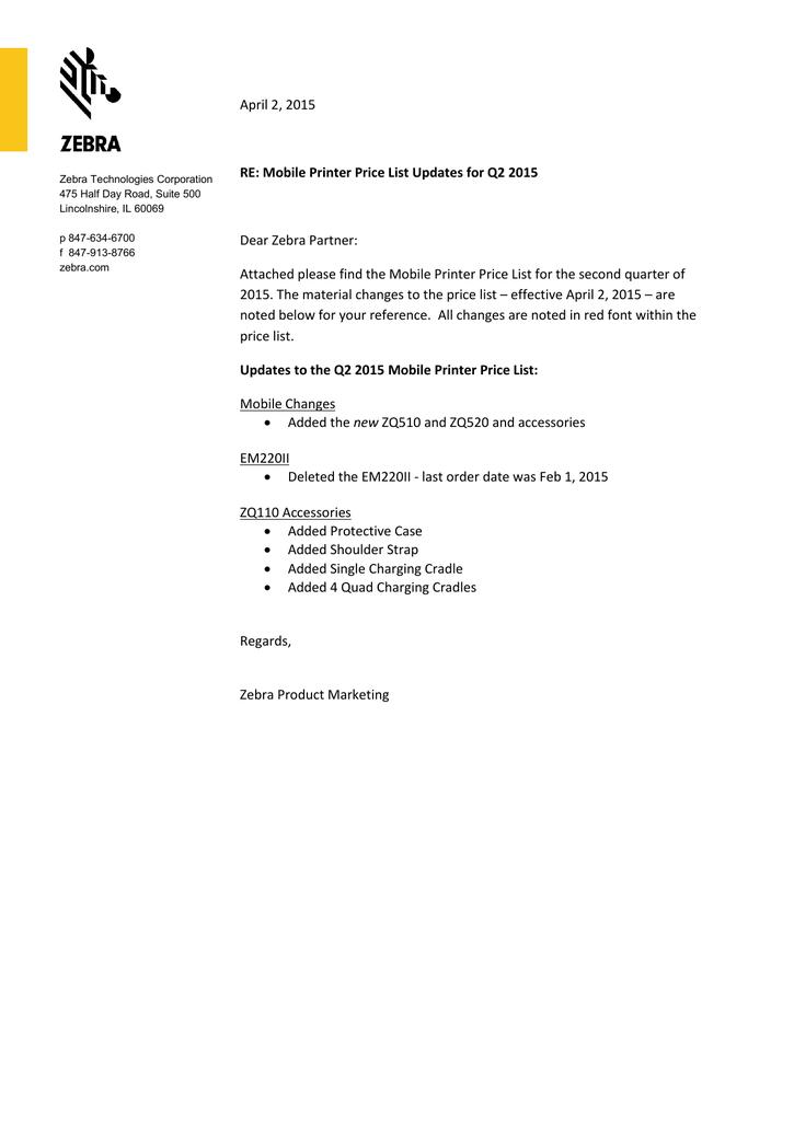 Mobile Printer Price List Updates for Q2 2015