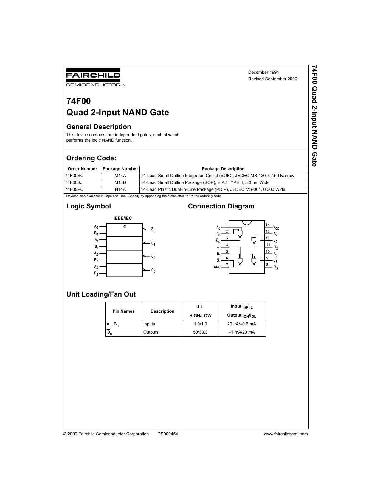 74f00 Datasheet 7400 Quad 2input Nand Gate Pin Layout