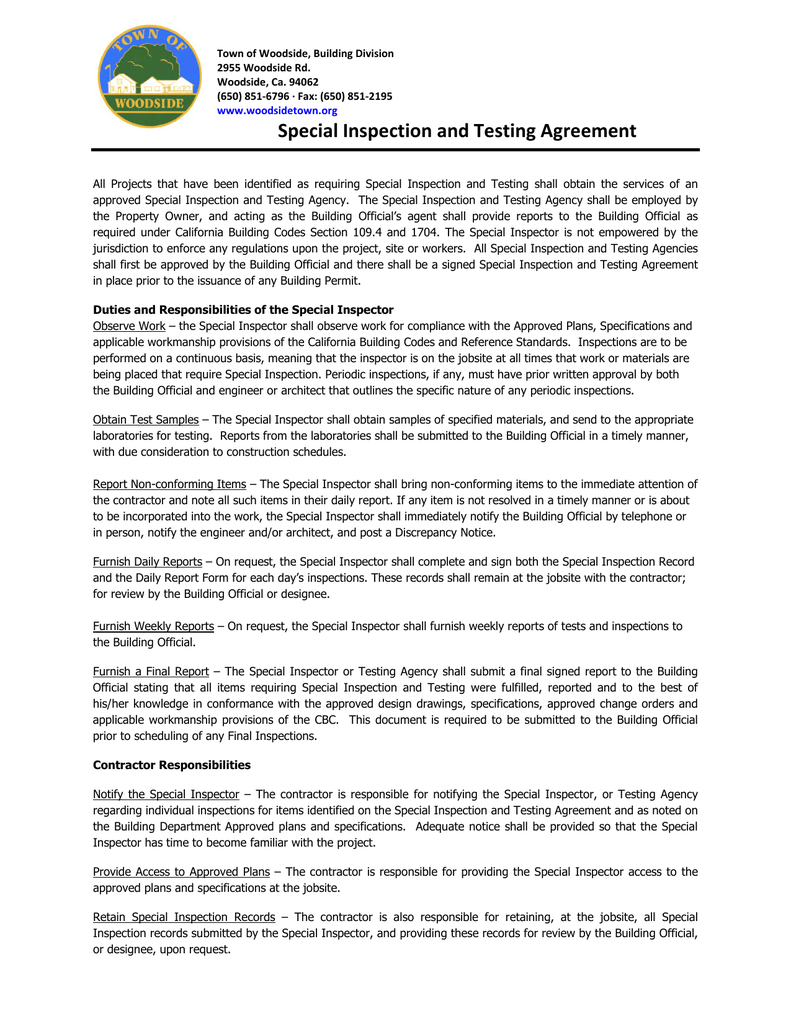 Special Inspection And Testing Agreement