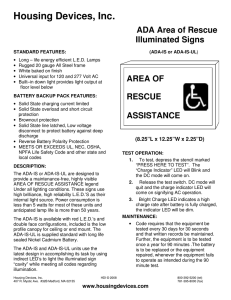 Housing Devices, Inc. ADA Area of Rescue Illuminated Signs